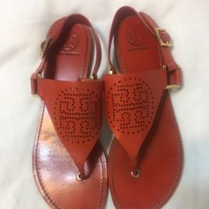 Tory Burch, orange leather sandals